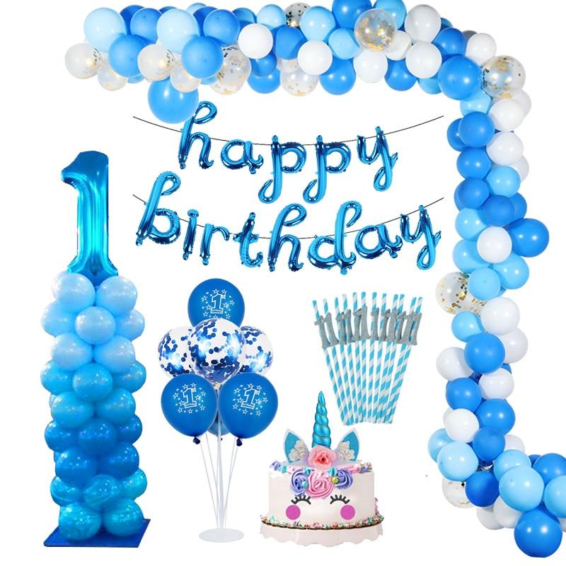 1 Year Boy Birthday First Birthday Baby Shower Boy Decorations Blue Baby Party Set Birthday Party Decorations Kids Girl Or Boy