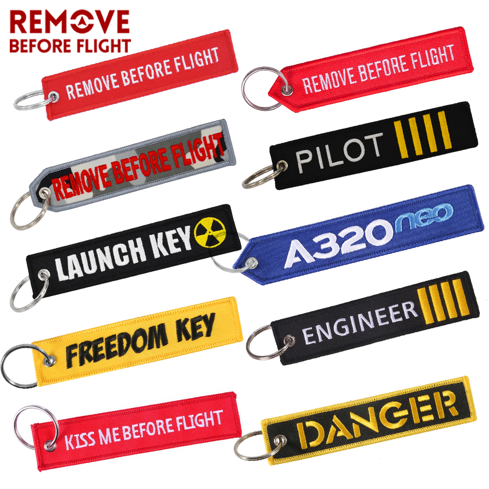 Wholesale Keychains For Motorcycles And Cars Key Chains Jewelry 50 PCS Aviation Gifts Embroidery Keychain REMOVE BEFORE FLIGHT