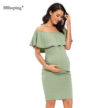 Maternity Dresses Summer Ruffle Floral Dress Off Shoulder Pregnancy Dress Bodycon Knee Woman's Gown Elegant Woman's Clothing(China)