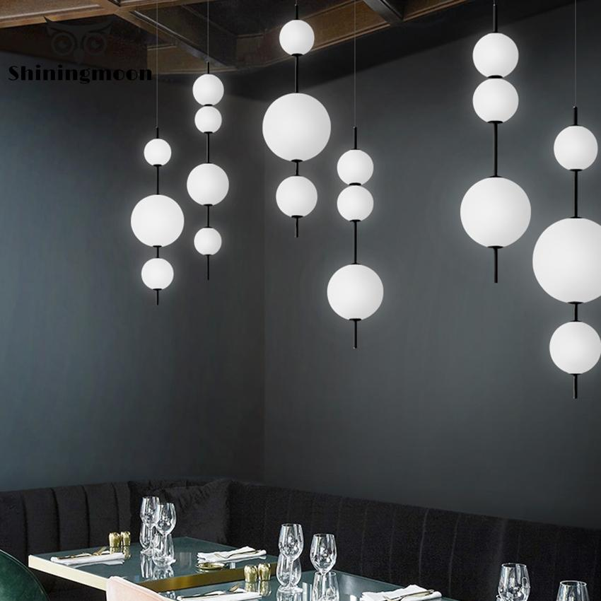 Modern Frosted Glass Pendant Lights Creative A String Ball LED Mirror Pendant Lamp Kitchen Dining Room Hanging Lamp Luminaria