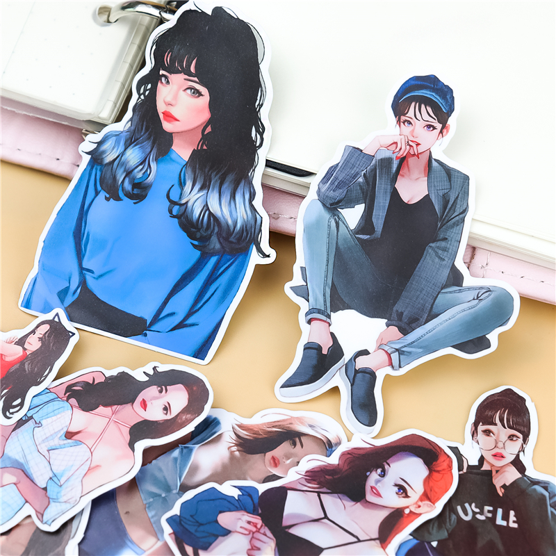 Stickers 20PCS  Cute Anime Girl Team Hand Account Stickers Refrigerator Suitcase Skateboard Mobile Phone Stickers Diy Waterproof