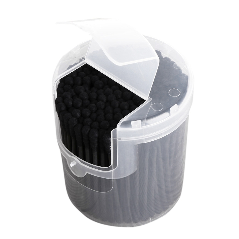200Pcs Activated Black Anti-bacterial Cotton Swab Ear Buds Double Head Cleaning  NEW