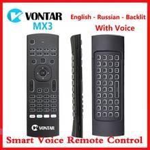 MX3 Air Mouse Smart z pilotem podświetlana MX3 Pro 2.4G bezprzewodowa klawiatura IR nauka dla Vontar TV, pudełko X3 H96 X96 MAX