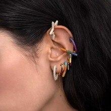 WELBACK Rainbow Star Earcuffs Earrings For Women Colorful Multi-Hoop Rhinestone Ear