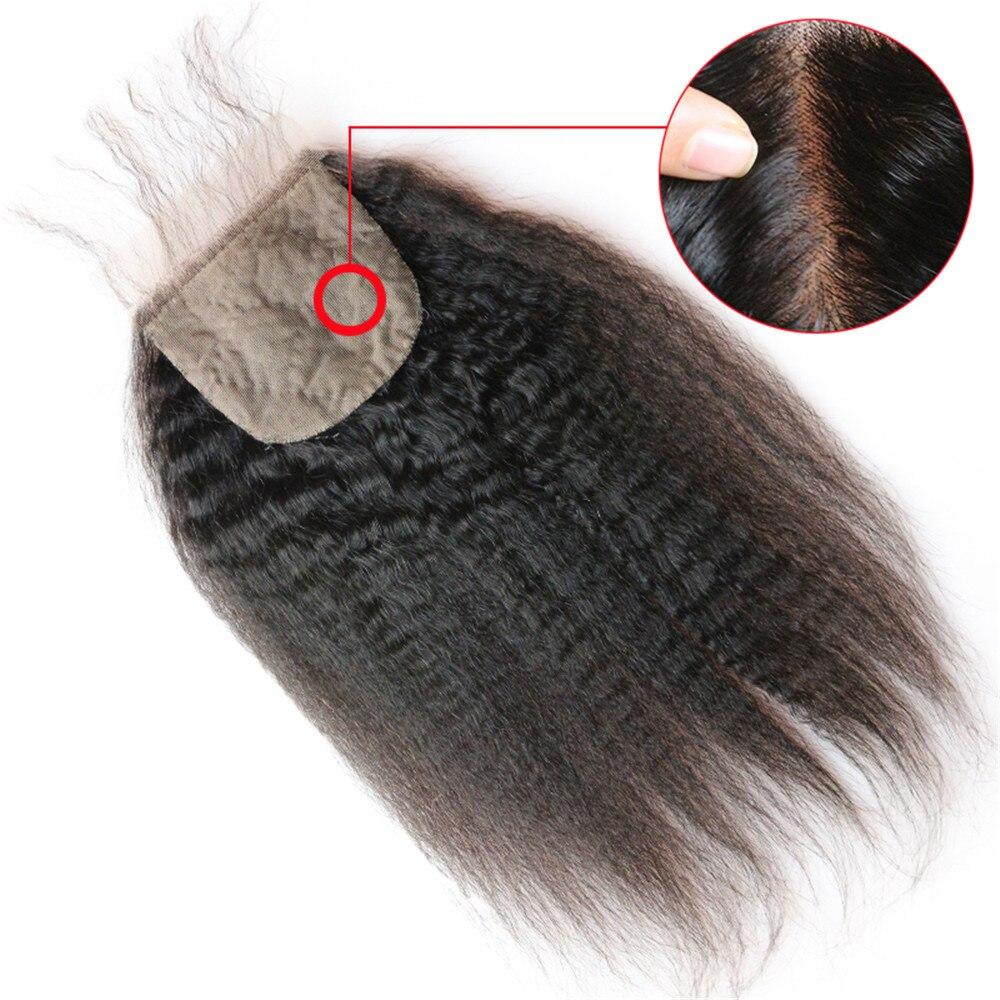 Kinky Straight 4x4 Silk Top Lace Closure Human Hair Brazilian Remy Swiss Lace Closure With Baby Hair Yaki Straight Hair Eseewigs