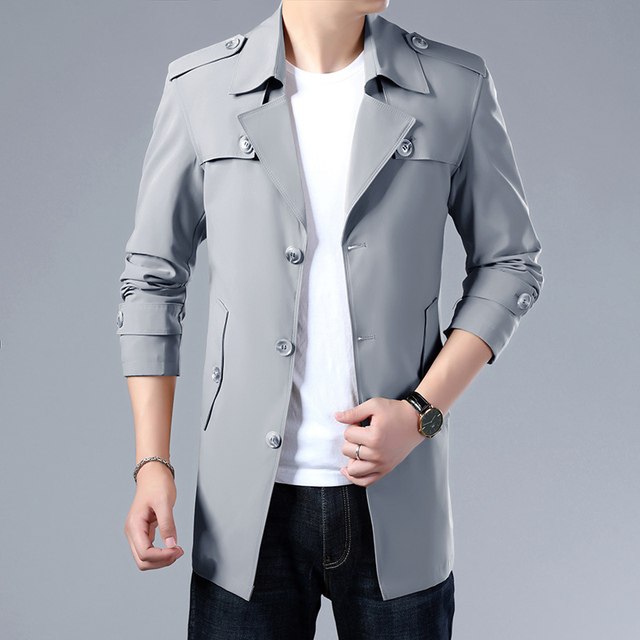 Thoshine Brand Spring Autumn Men Trench Coats Superior Quality Buttons Male Fashion Outerwear Jackets Windbreaker Plus Size 4XL 2