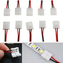 5-100 pces 8mm 10mm 2pin led strip conector cabo 2 pinos 10mm largura pcb única cor led fita luz para 3528 2835 5050 led strip