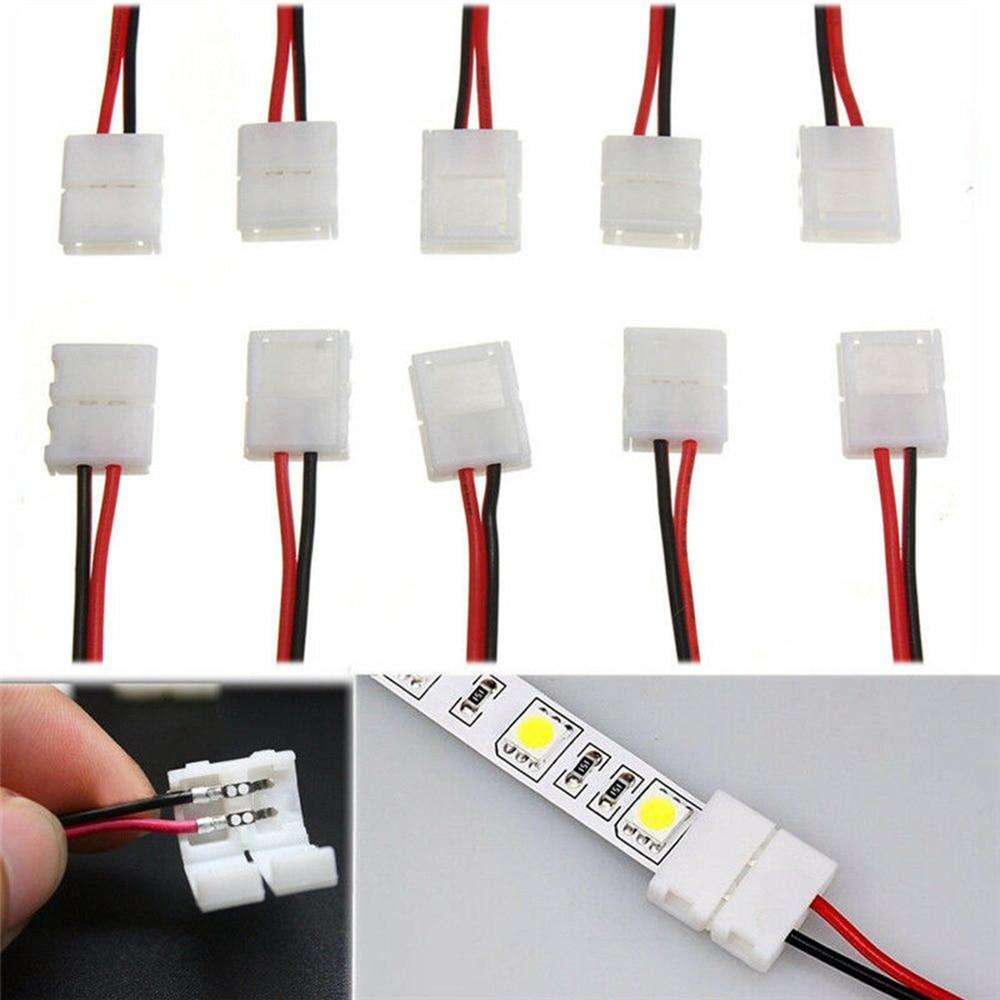 Cabo conector de tira de led, 5-100 peças 8mm 10mm 2pin 2 pinos largura 10mm pcb único cor led fita luz para 3528 2835 5050 led tira