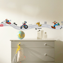 Disney Mickey Mouse Play Skateboard Funny Skiting Line Wall Stickers For Home Kitchen Kid Room Decor PVC Mural Art Decals
