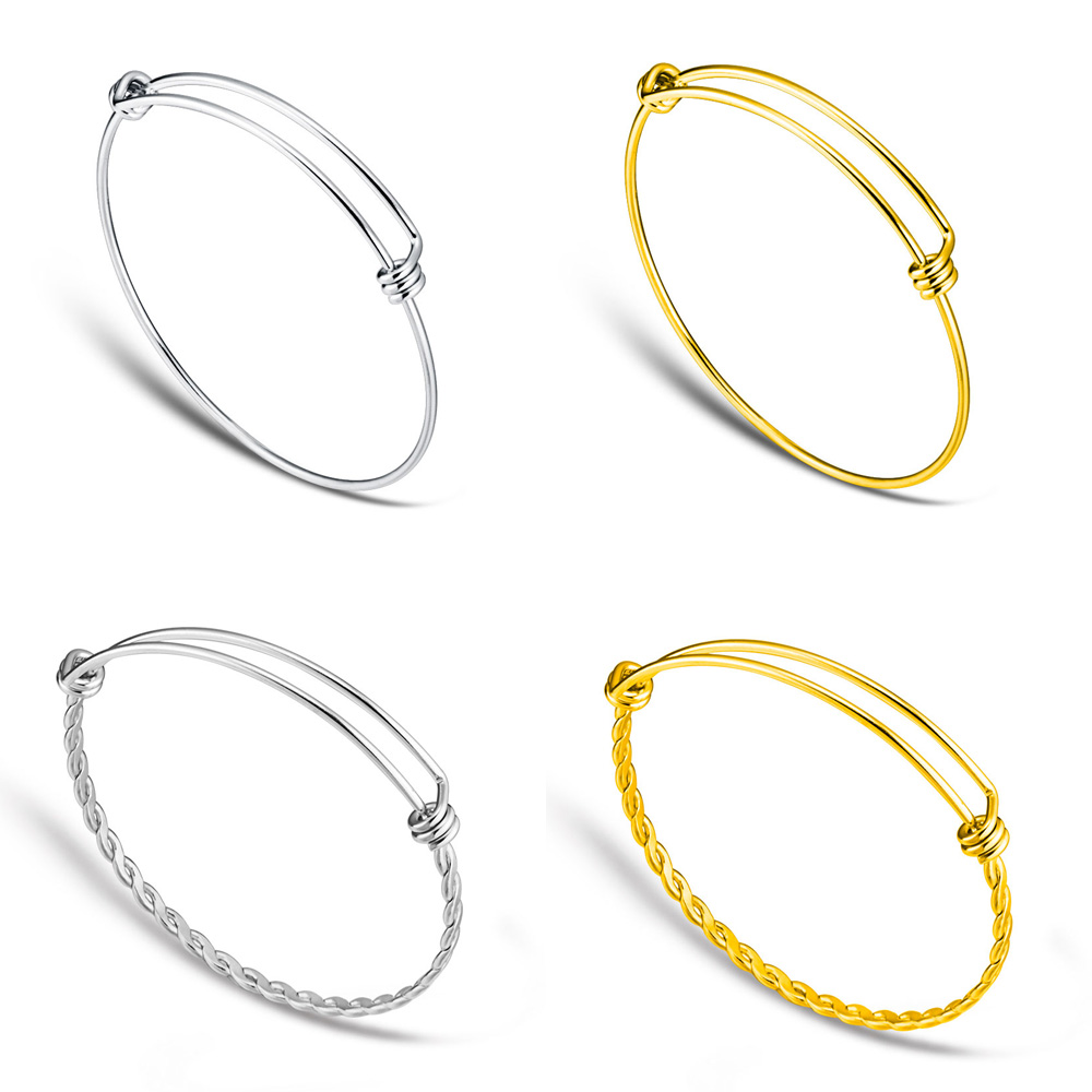 20pcs/lot 100% Stainless Steel DIY Charm Bangle 50-65mm Jewelry Finding Expandable Adjustable Wire Bangles Bracelet Wholesale