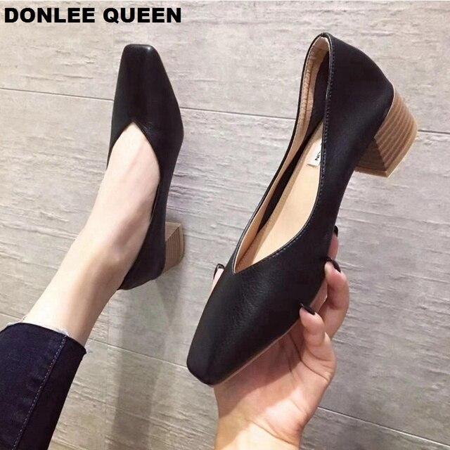 DONLEE ملكة سميكة كعب أحذية النساء مضخات مربع اصبع القدم أحذية عمل الانزلاق على أحذية عالية الكعب الخريف الأحذية الضحلة zapatos دي موهير