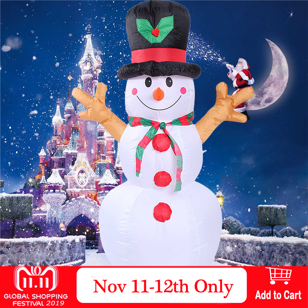Behogar 5.25 Feet Christmas Inflatable Santa Snowman with Lighting for Indoor Outdoor Xmas Holiday New Year Festival Decorations