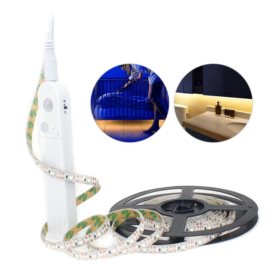 Wireless PIR Motion Sensor LED Light Strip Kitchen Bed Cabinet Closet Light Tape 1M-5M USB/Battery Power LED Lamp TV Backlight