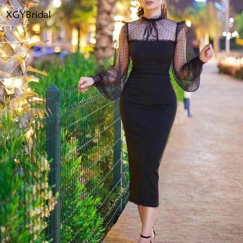 New Arrival High Neck Long sleeve Evening dresses abendkleider 2021 Black Short evening dress Plus size Vestidos elegantes плать