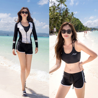 MEIYIER 2019 Fashion long sleeves surf swimsuit womens Rush guard Korean swimwear 5 pieces diving sports beach costume female