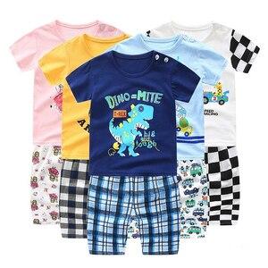 Dinosaur Short Sleeve T-shirt+Shorts Set New Summer Toddler Boys Girls Kids Clothes Baby Boy Girl Clothing Sets Cartoon Suit