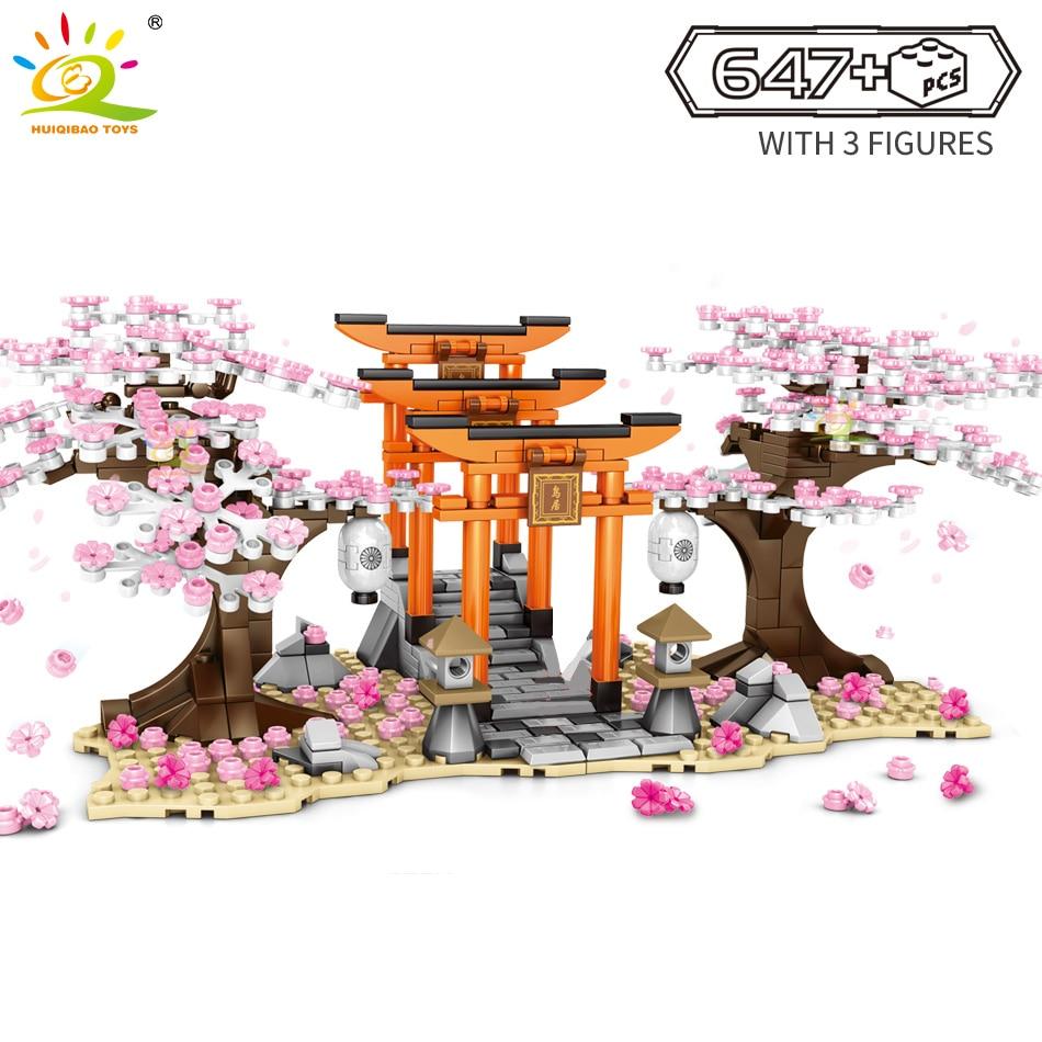 HUIQIBAO 647Pcs Cherry Blossom Festival Shrine Torii Street View City Building Blocks Sakura Tree Bricks Figures Toys Children