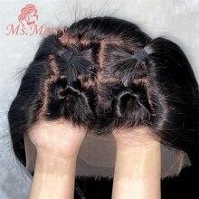Ms.Merry – perruque Lace Frontal wig brésilienne naturelle – vingine, cheveux humains, 150% HD, 13x6, couleur naturelle foncée, STW/BW, avec Baby Hair