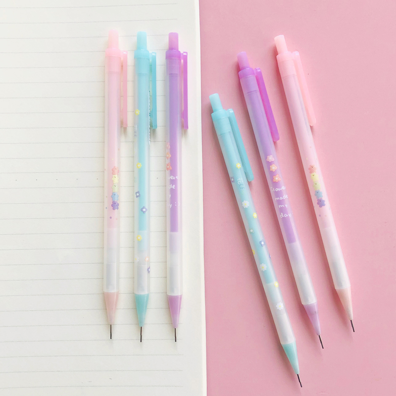 3X Colorful Flowers Bear Press Mechanical Pencil School Student Stationery 0.7mm