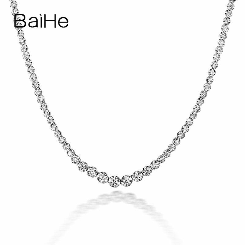 BAIHE Solid 18K Белое Золото сертифицировано 2CT/2.35CT/3.5CT 100% натуральные бриллианты мужские и женские свадебные модное ожерелье