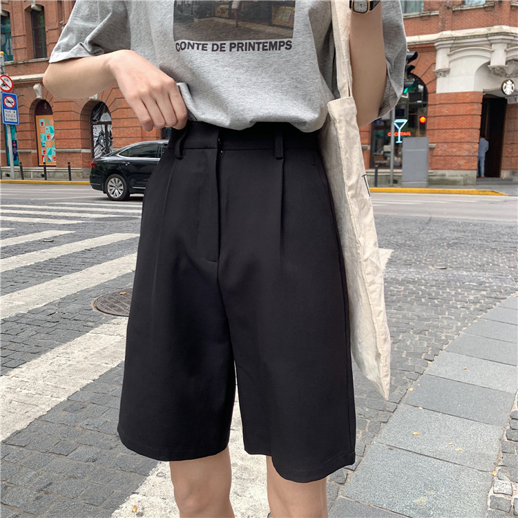 H5dc7c7cc0e314f82aca87140f96a7e010 - Summer High Waist Wide Leg Loose Solid Shorts
