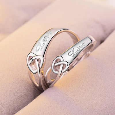 1 Set Verkaufen Einstellbare Liebhaber Zirkon Engagement Ringe für Frauen Mode Silber Farbe Hochzeit Ringe Österreichischen Kristalle Schmuck