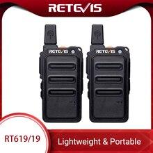 Mini Walkie Talkie 2 szt. Retevis RT619 PMR Radio PMR446 ultracienki kadłub 1 2Km poręczne dwukierunkowe Radio FRS RT19 do uprawiania turystyki pieszej/kempingowej