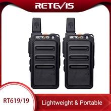 Mini Walkie Talkie 2Pcs Retevis RT619 PMRวิทยุPMR446 Ultrathinลำตัว 1 2Km Handy 2 WayวิทยุFRS RT19 สำหรับเดินป่า/ตั้งแคมป์