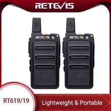Mini Walkie Talkie 2pcs Retevis RT619 PMR Radio PMR446 Ultrathin fuselage 1 2Km Handy Two way Radio FRS RT19 For Hiking/Camping