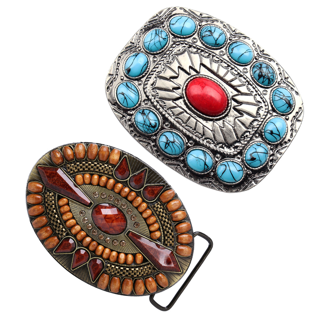 2 Pcs Men Retro Western Cowboy Turquoise Bead Metal Belt Buckle For Christmas Birthday Gift