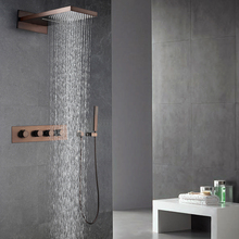 Oil Rubbed Bronze Shower Faucets Set Rainfall Waterfall Shower Heads ORB Bathroom Showers Wall Mounted Rain Hand Hold Shower golden rainfall shower faucets set brass wall mounted shower with hand shower mixer for bathroom