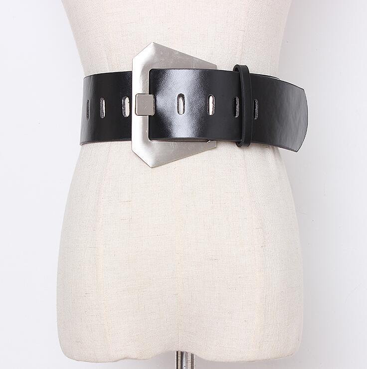 Women's Runway Fashion Double Side Pu Leather Cummerbunds Female Dress Coat Corsets Waistband Belts Decoration Wide Belt R2181