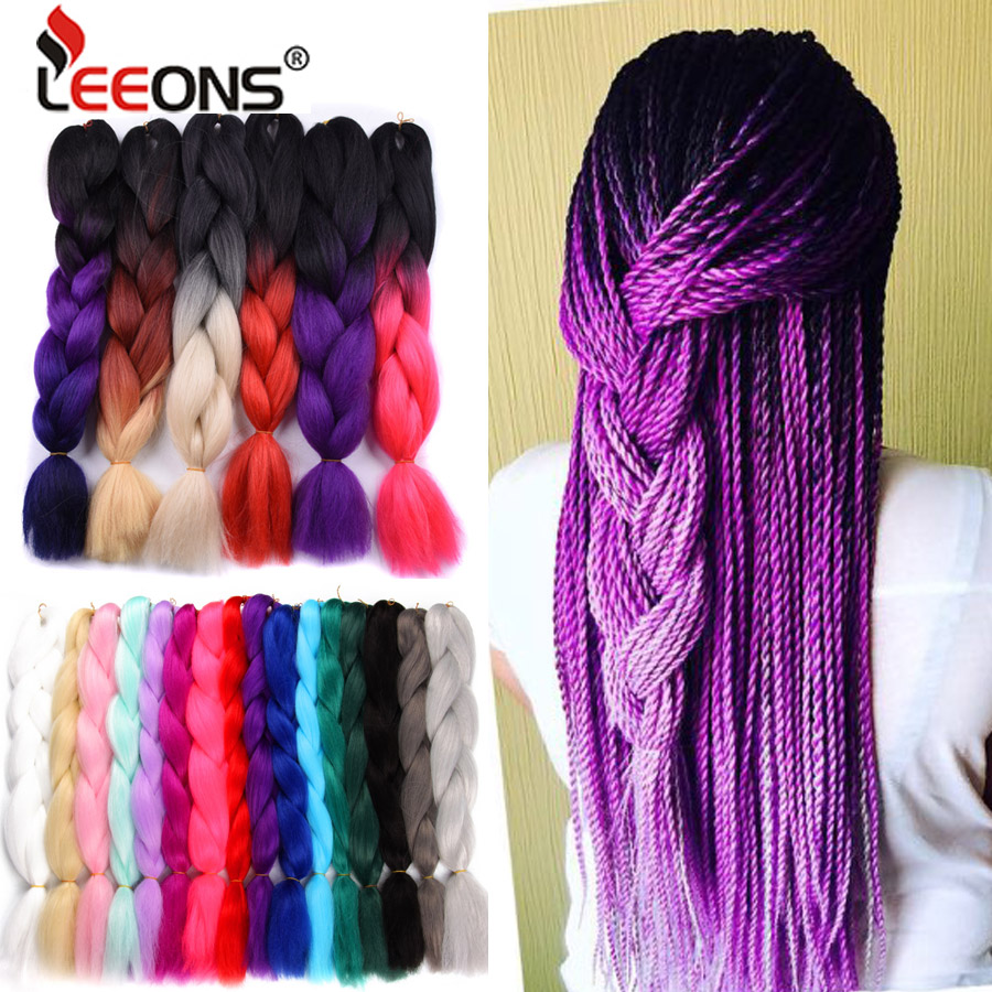 Leeons 24Inch Jumbo Braids Crochet Hair Synthetic Ombre Braiding Hair Extension For Braids 102 Rainbow Pink Blue Hair Piece 100G