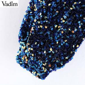 Image 5 - Vadim womne mode Sexy paillettes brillant blouse simple épaule extensible côté fermeture éclair femme fête porter culture hauts blusas LB724