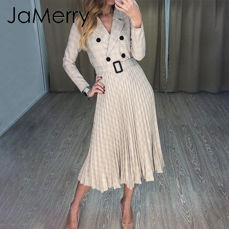 JaMerry Vintage Plaid Button Belt Women Dress Elegant Blazer Pleated A-line Office Lady Dress Long Sleeve Worek Wear Party Dress