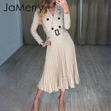 JaMerry Vintage plaid bouton ceinture femmes robe élégante blazer plissé a ligne bureau dame robe à manches longues worek porter robe de soirée