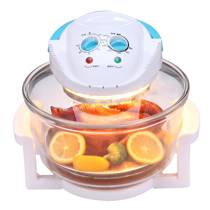 Multi-functional Sootless Convection Oven Visual Air Fryer Large Capacity Electric Baking Fries Machine Glass Body Material 220V
