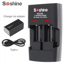 Soshine 2 Khe Cắm Li ion RCR123 / RCR2 Nhanh Pin Sạc Thông Minh có ĐÈN LED Hiển Thị 14250 CR2 16340 17335 15266 pin