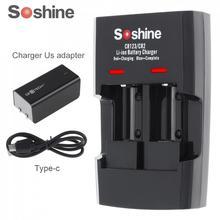 Умное зарядное устройство Soshine с 2 слотами для литий ионных батарей RCR123 / RCR2 Rapid, со светодиодным индикатором для аккумуляторов 14250 CR2 16340 17335 15266