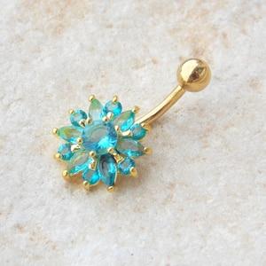 316L сталь зеленый цветок Кристалл пупка баров золото пупка кольцо пупка пирсинг ювелирные изделия 1,6*10 мм Пирсинг Ombligo Nombril