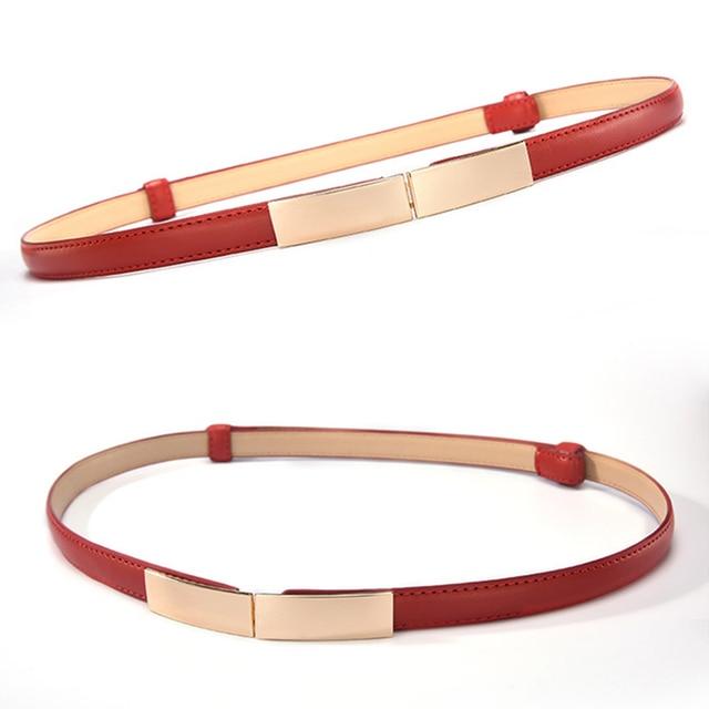 Belt dress simple versatile  Fashion Women Leather Belt Thin Skinny Metal Gold Elastic Buckle Waistband Belt Dress Accessories 10