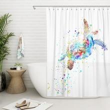 Shower Curtain Colorful Turtle Ocean Creature Bathroom Curtains Set with Hooks Rings Waterproof Polyester Mildew Resistant Bath