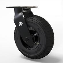 1 Pc Electrophoresis Full Black 8-inch Inflatable Rubber Caster Universal Wheel Air Hotel Lobby Luggage Cart Service Car