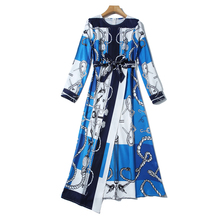 New Europe Style Temperament Print Dress Belt Slim Light Wind high-end Fashion Autumn Long Sleeve