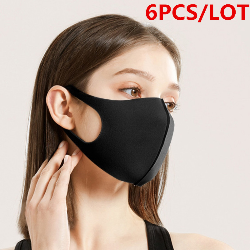 6 PCS Washable Anti-Dust Mask Black Cycling Mouth Face Respirator Mask Anti Mouth-muffle Bacteria PM2.5/Dust Anti Bacterial Mask
