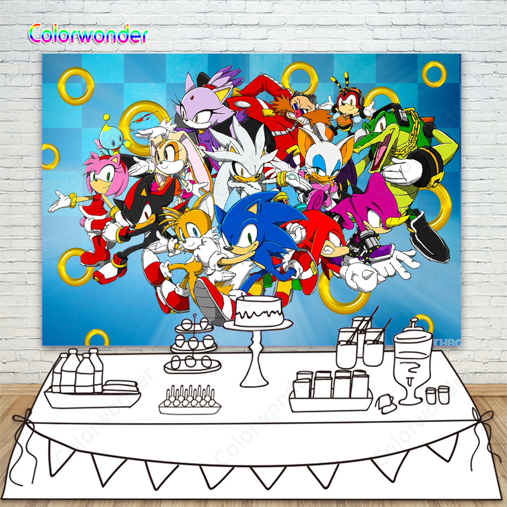 Sonic The Hedgehog Birthday Party Backdrops For Photography Sonic Characters Vinyl Photo Backgrounds Dessert Table Decorations Background Aliexpress