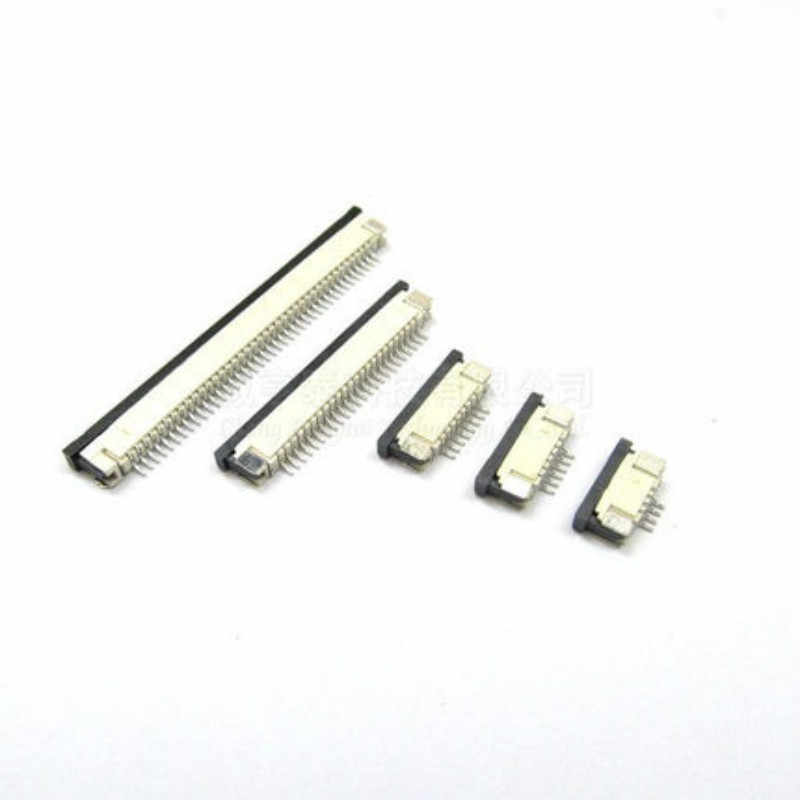 10pcs FFC FPC connector 1.0mm 4 Pin 6 8 10 12 14 16 18 20 22 24 26 30P ด้านล่าง Contact Right angle SMD/SMT ZIF