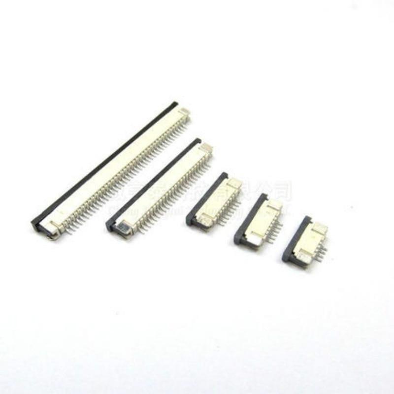 Коннектор FFC FPC 1,0 мм, 4 контакта, 6, 8, 10, 12, 14, 16, 18, 20, 22, 24, 26, 30P, под прямым углом контакта внизу, SMD / SMT ZIF, 10 шт.