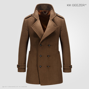 Image 3 - מעיל גברים צמר חורף מעילי גברים ומעילים מותג מפורסם מזדמן באיכות גבוהה זכר Parka פלנל אופנה צמר עסקי בריטי ארוך מעיל אפונה קשמיר מעיל חתונה