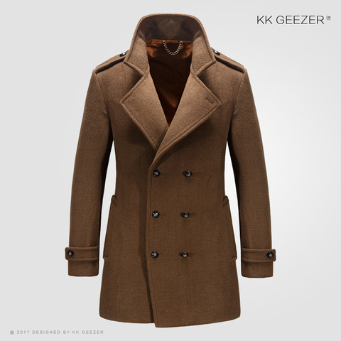 Mens Coat Winter Wool Mens Jackets and Coats Famous Brand Casual Parka Flannel Fashion Woollen British Business Longer Cashmere Karachi